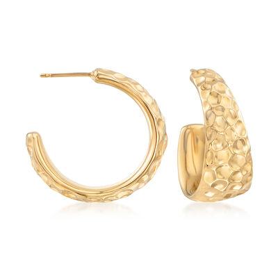 14kt Yellow Gold C-Hoop Earrings, , default