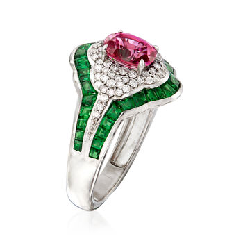 1.50 Carat Pink Sapphire and 2.50 ct. t.w. Tsavorite with .39 ct. t.w. Diamond Ring in 14kt White Gold. Size 7