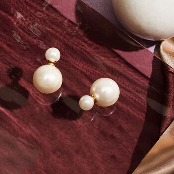 8-16mm Shell Pearl Front-Back Earrings in 14kt Yellow Gold, , default
