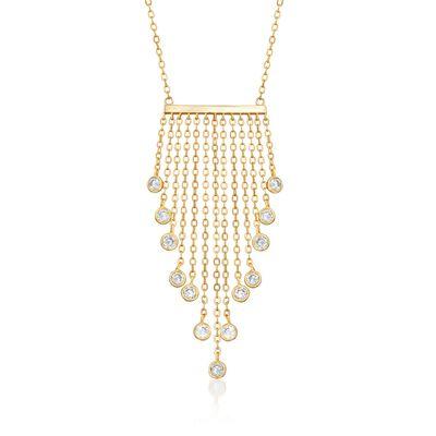 1.30 ct. t.w. Bezel-Set CZ Fringe Bib Necklace in 14kt Gold Over Sterling, , default