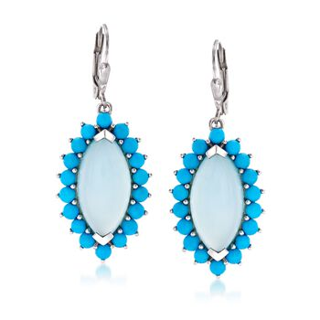 Aqua Blue Chalcedony and Turquoise Marquise Drop Earrings in Sterling Silver , , default