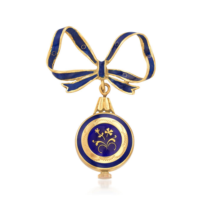 C. 1950 Vintage Blue Enamel Mechanical Watch Bow Pin in 18kt Yellow Gold, , default