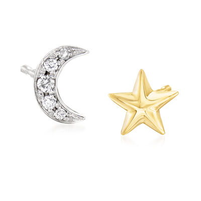 Mismatched Star and Moon Diamond-Accented Earrings in 18kt Gold Over Sterling