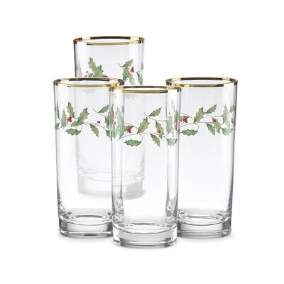 "Lenox ""Holiday"" Set of 4 Decal Highball Glasses, , default"