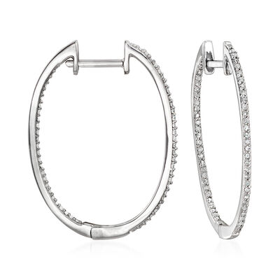 .25 ct. t.w. Diamond Inside-Outside Hoop Earrings in Sterling Silver, , default