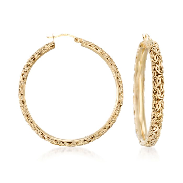 "18kt Yellow Gold Over Sterling Silver Extra Large Byzantine Hoop Earrings. 1 7/8"", , default"