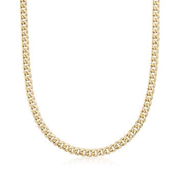 "Men's 5.5mm 14kt Yellow Gold Miami Cuban Link Necklace. 22"", , default"
