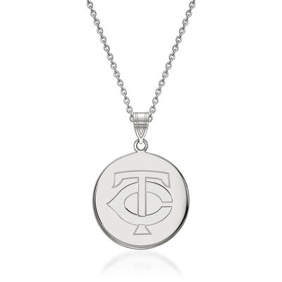 "Sterling Silver MLB Minnesota Twins Disc Pendant Necklace. 18"", , default"