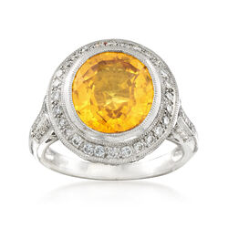 C. 1990 Vintage 5.65 Carat Oval Yellow Sapphire and .50 ct. t.w. Diamond Ring in Platinum, , default