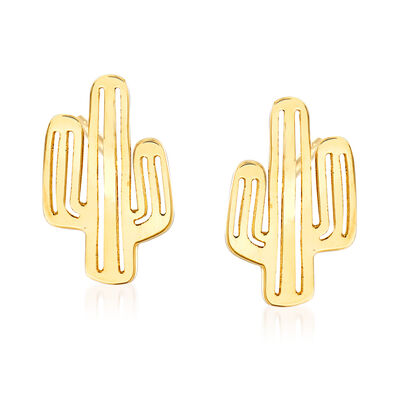 14kt Yellow Gold Cactus Stud Earrings, , default