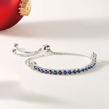 2.05 ct. t.w. Sapphire Bolo Bracelet with White Zircon Accents in Sterling Silver, , default