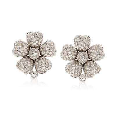 C. 1990 Vintage 5.40 ct. t.w. Diamond Floral Earrings in 18kt White Gold, , default