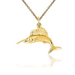 "14kt Yellow Gold Swordfish Pendant Necklace. 18"", , default"