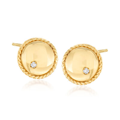 "Phillip Gavriel ""Italian Cable"" Stud Earrings with Diamond Accents in 14kt Yellow Gold, , default"