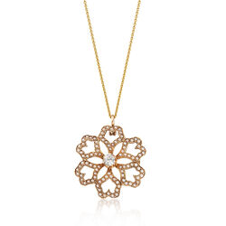 C. 1950 Vintage Cultured Pearl and .30 Carat Diamond Flower Pin Pendant Necklace in 14kt Gold, , default