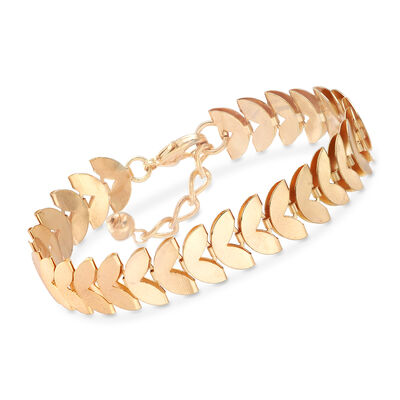 12mm Heart-Shape Bracelet in Gold-Tone Metal, , default