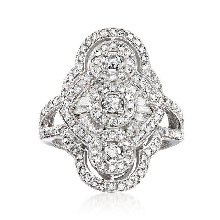 1.00 ct. t.w. Diamond Triple-Circle Ring in 14kt White Gold
