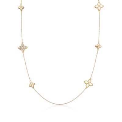 "Roberto Coin ""Princess"" .17 ct. t.w. Diamond Floral Station Necklace in 18kt Two-Tone Gold, , default"