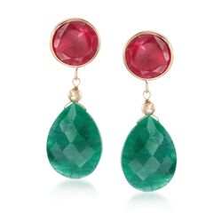 Red and Green Corundum Drop Earrings in 14kt Yellow Gold, , default