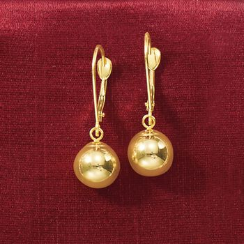 8mm 14kt Yellow Gold Shiny Bead Drop Earrings, , default