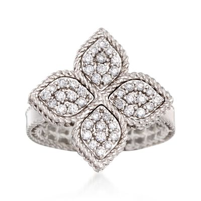 "Roberto Coin ""Princess"" .45 ct. t.w. Diamond Flower Ring in 18kt White Gold"