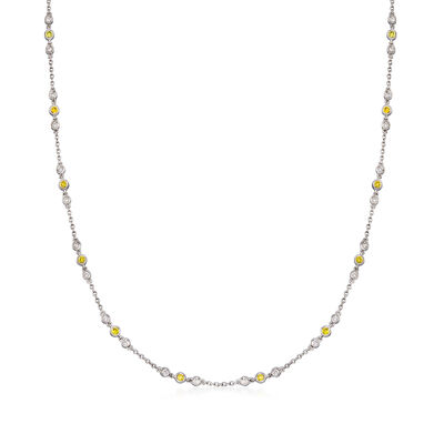 C. 2000 Vintage .85 ct. t.w. White and Yellow Diamond Station Necklace in 14kt White Gold