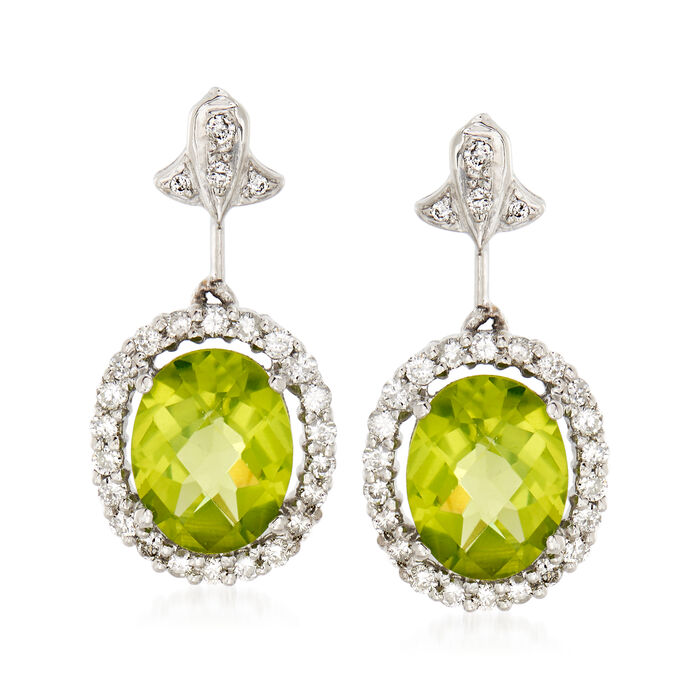C. 1990 Vintage 3.90 ct. t.w. Peridot and .60 ct. t.w. Diamond Drop Earrings in 14kt White Gold, , default