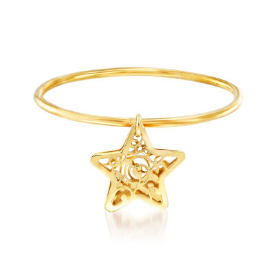 Italian 18kt Yellow Gold Filigree Star Charm Ring