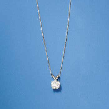 1.00 Carat Diamond Solitaire Necklace in 14kt White Gold  , , default