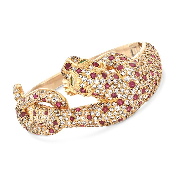 """C. 1980 Vintage 16.00 ct. t.w. Diamond and 6.00 ct. t.w. Ruby Panther Bangle Bracelet in 18kt Yellow Gold. 7"""", , default"""