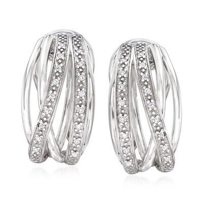 .10 ct. t.w. Diamond Highway Huggie Hoop Earrings in Sterling Silver, , default