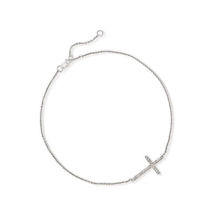 """14kt White Gold Sideways Cross Anklet with Diamond Accents. 9"""""""