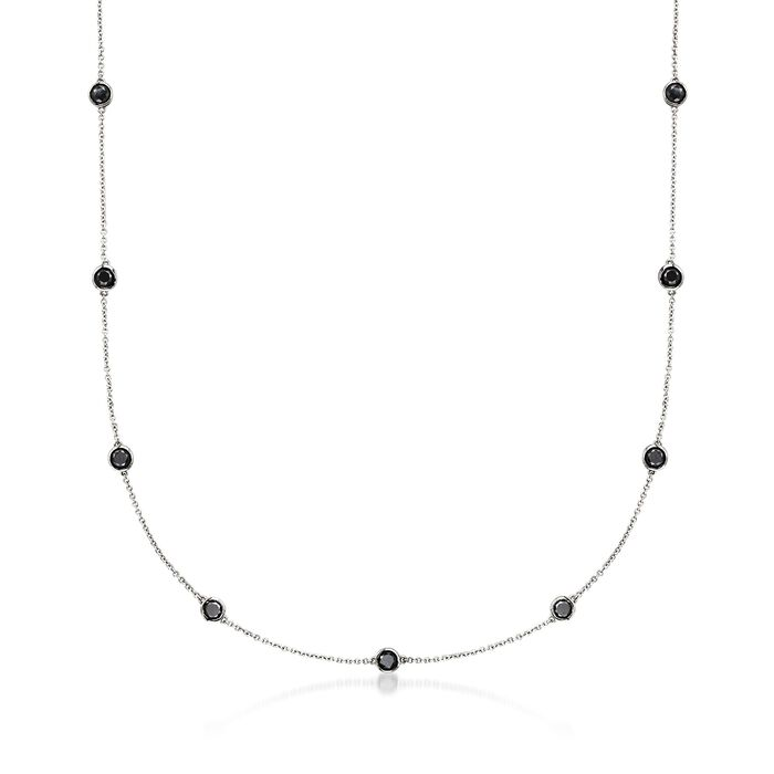 3.00 ct. t.w. Black Diamond Station Necklace in 14kt White Gold, , default