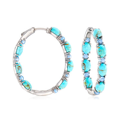 Turquoise and 2.10 ct. t.w. Swiss Blue Topaz Inside-Outside Hoop Earrings in Sterling Silver, , default
