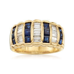 C. 1990 Vintage 1.40 ct. t.w. Sapphire and .75 ct. t.w. Diamond Ring in 18kt Yellow Gold, , default