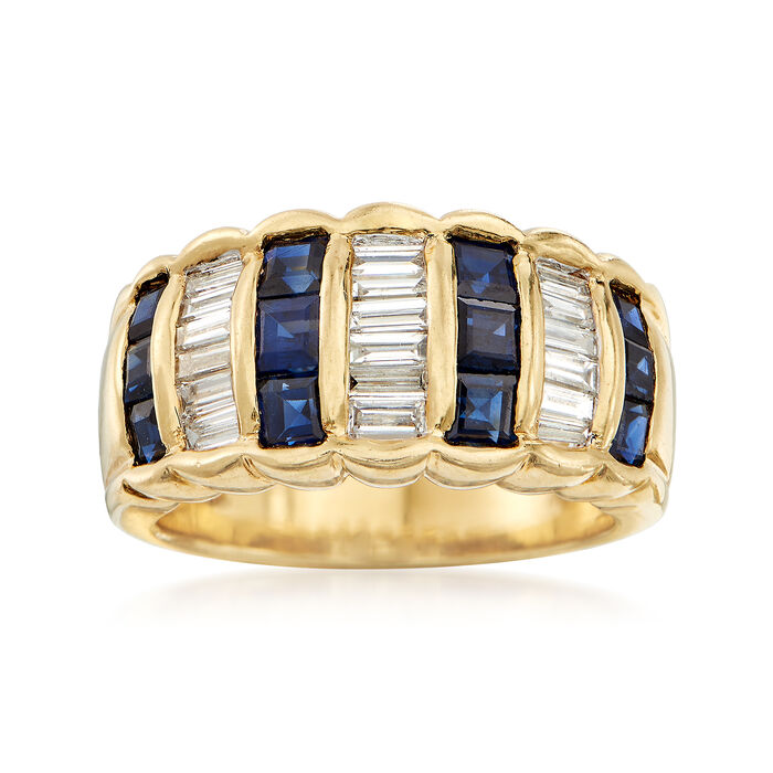 C. 1990 Vintage 1.40 ct. t.w. Sapphire and .75 ct. t.w. Diamond Ring in 18kt Yellow Gold. Size 6, , default