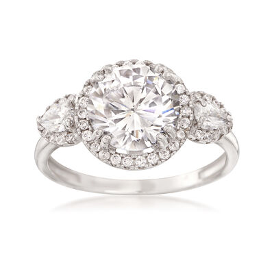 2.65 Carat Round CZ Ring in 14kt White Gold, , default