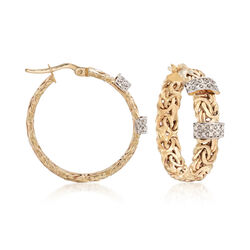 """.26 ct. t.w. Diamond Byzantine Hoop Earrings in 14kt Yellow Gold. 1 1/8"""", , default"""