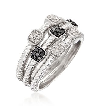 .19 ct. t.w. Black and White Diamond Jewelry Set: Three Rings in Sterling Silver, , default