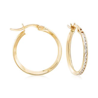 Italian 1.10 ct. t.w. CZ Hoop Earrings in 14kt Yellow Gold, , default