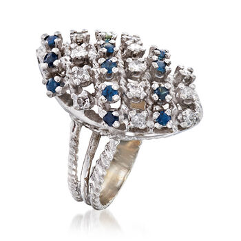 C. 1980 Vintage .60 ct. t.w. Sapphire and .40 ct. t.w. Diamond Multi-Row Ring in 18kt White Gold. Size 6