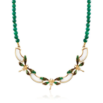 Italian Mother-Of-Pearl and Green Agate Dragonfly Necklace with Enamel in 18kt Gold Over Sterling, , default