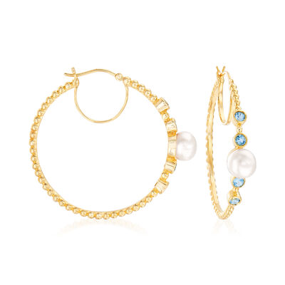 8-8.5mm Cultured Pearl and .90 ct. t.w. Swiss Blue Topaz Hoop Earrings in 18kt Gold Over Sterling, , default
