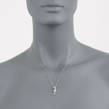 "Roberto Coin .10 ct. t.w. Diamond Seahorse Necklace in 18kt White Gold. 18"", , default"