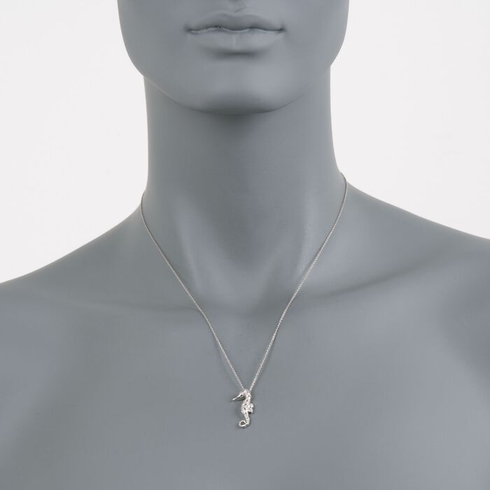 Roberto Coin .10 ct. t.w. Diamond Seahorse Necklace in 18kt White Gold