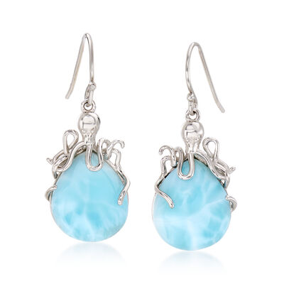 Larimar Octopus Drop Earrings in Sterling Silver, , default