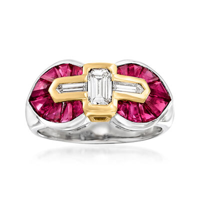 C. 1980 Vintage 1.96 ct. t.w. Ruby and .50 ct. t.w. Diamond Ring in Platinum and 18kt Yellow Gold