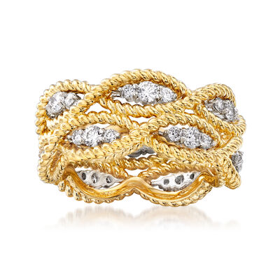 "Roberto Coin ""Barocco"" .95 ct. t.w. Diamond Roped Ring in 18kt Two-Tone Gold"