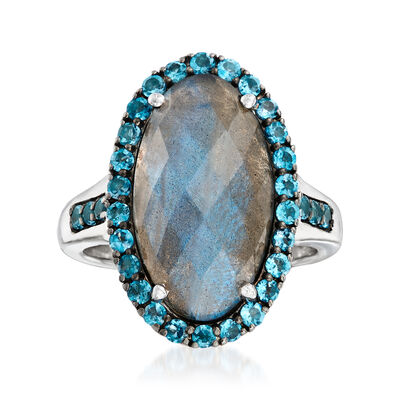 Labradorite and .90 ct. t.w. London Blue Topaz Ring in Sterling Silver, , default