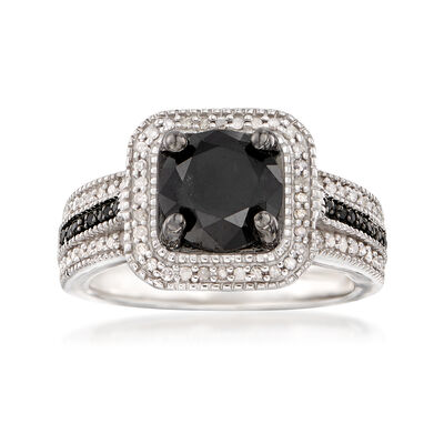 2.00 ct. t.w. Black and White Diamond Ring in Sterling Silver, , default